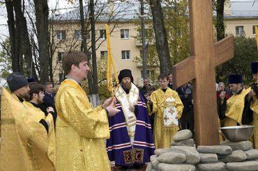 Освящение поклонного креста в Минзаге